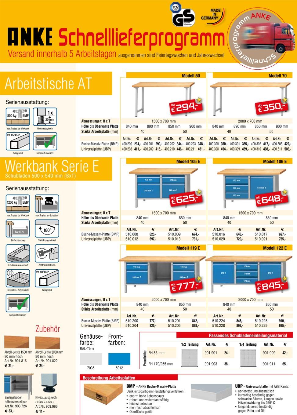 SAX - Anke Werkbänke - Schnell-Lieferprogramm