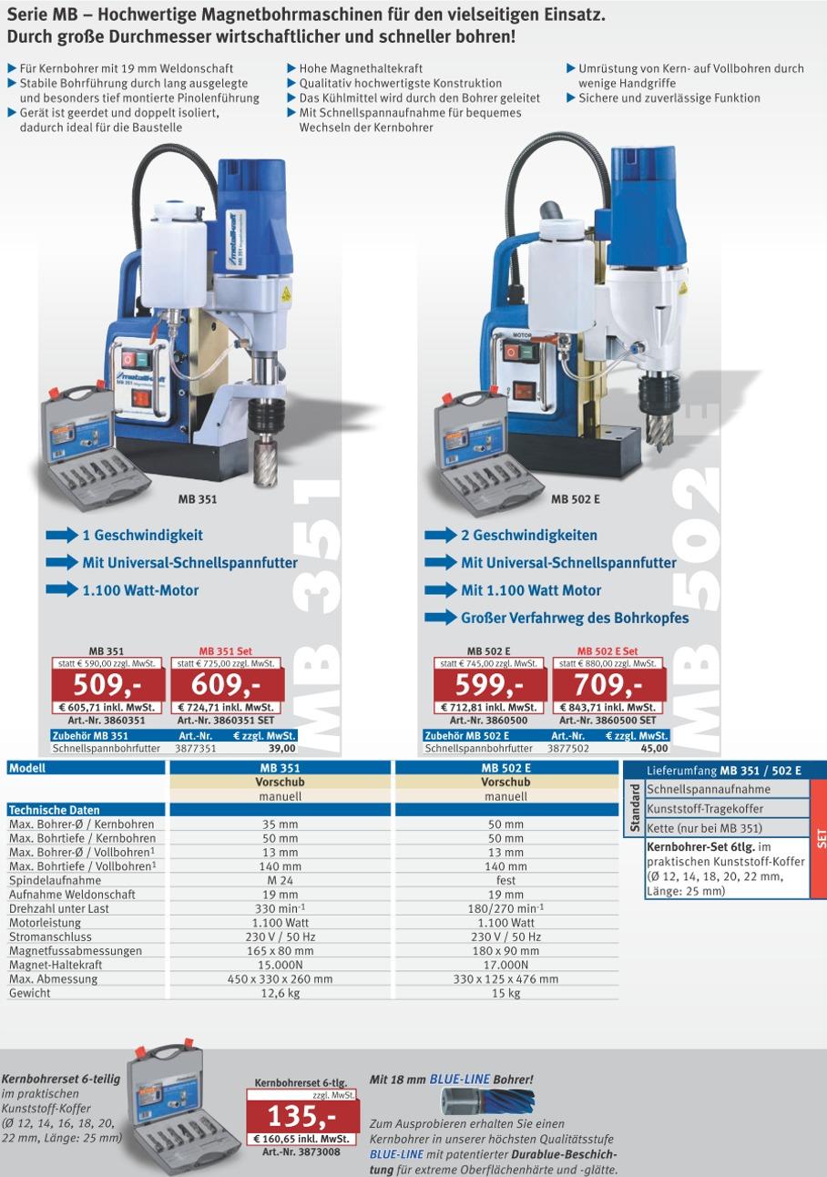 Metallkraft MB 1204 SET Magnetbohrmaschine